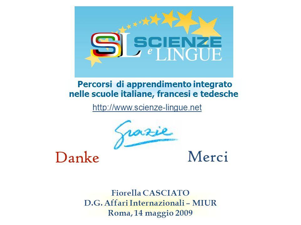 Percorsi di apprendimento integrato nelle scuole italiane, francesi e tedesche http://www.scienze-lingue.net Fiorella CASCIATO D.G. Affari Internazion