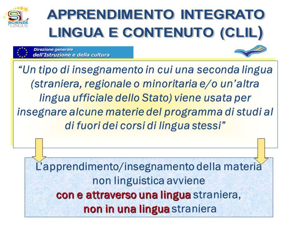 Lapprendimento/insegnamento della materia non linguistica avviene con e attraverso una lingua con e attraverso una lingua straniera, non in una lingua