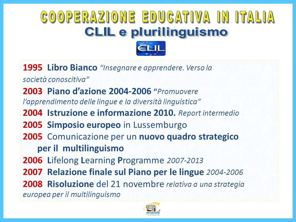 1995 Libro Bianco Insegnare e apprendere. Verso la società conoscitiva 2003 Piano dazione 2004-2006 Promuovere lapprendimento delle lingue e la divers