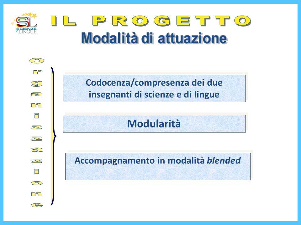 Codocenza/compresenza dei due insegnanti di scienze e di lingue Modularità Accompagnamento in modalità blended