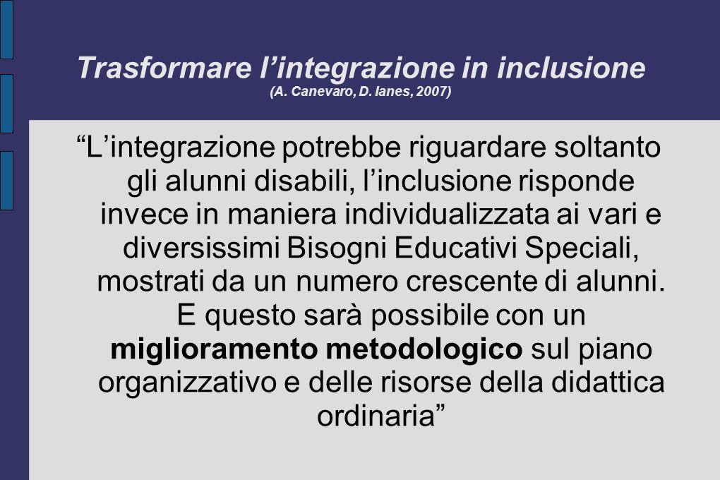 Trasformare lintegrazione in inclusione (A. Canevaro, D. Ianes, 2007) Lintegrazione potrebbe riguardare soltanto gli alunni disabili, linclusione risp