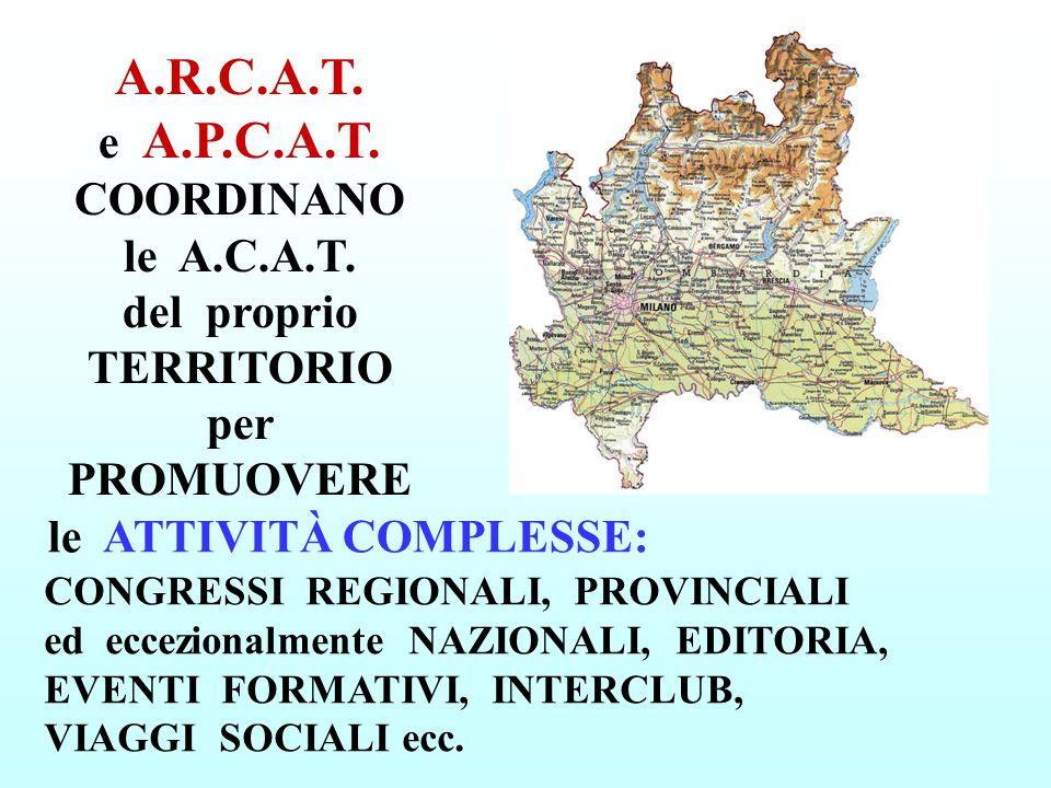 A.R.C.A.T. e A.P.C.A.T. COORDINANO le A.C.A.T. del proprio TERRITORIO per PROMUOVERE le ATTIVITÀ COMPLESSE: CONGRESSI REGIONALI, PROVINCIALI ed eccezi