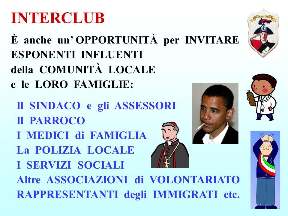 INTERCLUB È anche un OPPORTUNITÀ per INVITARE ESPONENTI INFLUENTI della COMUNITÀ LOCALE e le LORO FAMIGLIE: Il SINDACO e gli ASSESSORI Il PARROCO I ME