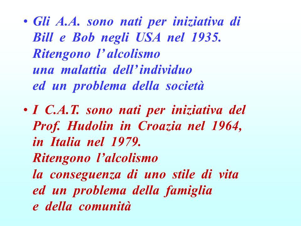 Gli A.A. sono nati per iniziativa di Bill e Bob negli USA nel 1935. Ritengono l alcolismo una malattia dell individuo ed un problema della società I C