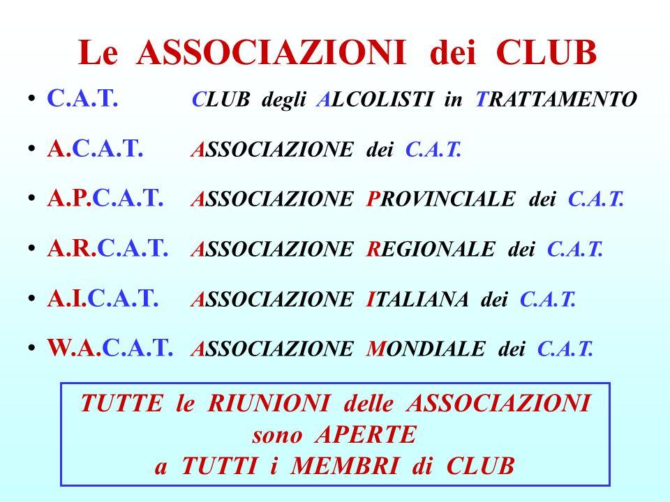C.A.T. CLUB degli ALCOLISTI in TRATTAMENTO A.C.A.T. ASSOCIAZIONE dei C.A.T. A.P.C.A.T. ASSOCIAZIONE PROVINCIALE dei C.A.T. A.R.C.A.T. ASSOCIAZIONE REG