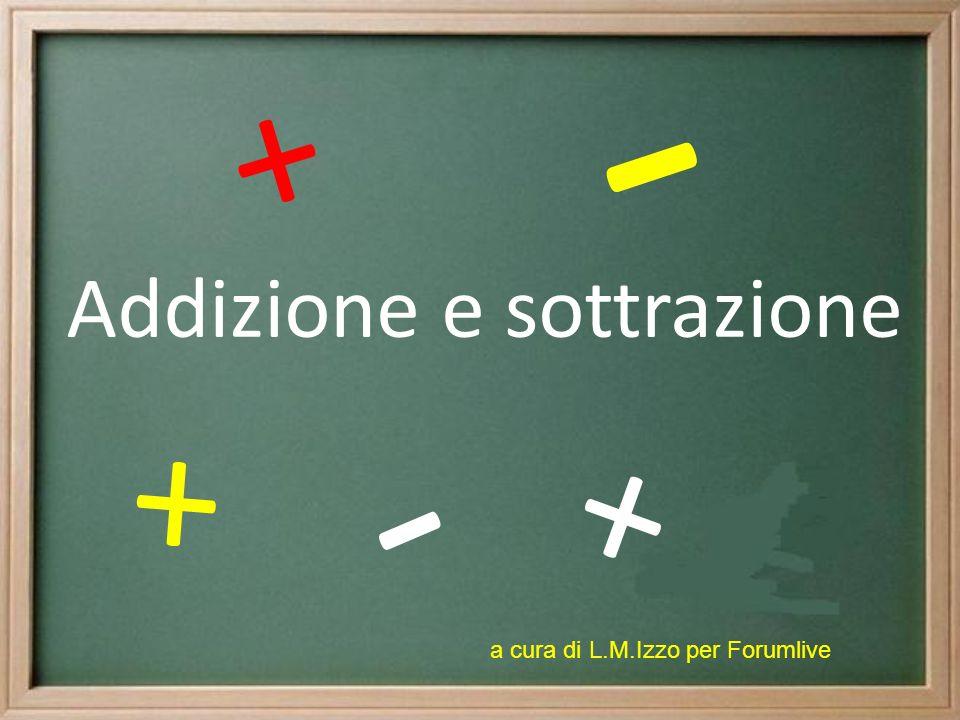 Addizione e sottrazione + + + - - a cura di L.M.Izzo per Forumlive