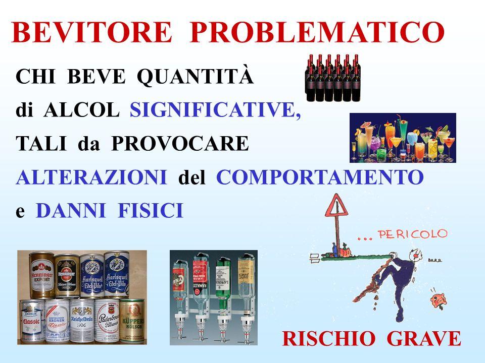 BEVITORE PROBLEMATICO La PRECOCITÀ con cui INEVITABILMENTE COMPAIONO i DANNI da USO di ALCOL DIPENDE: dall ETÀ di INIZIO del CONSUMO, dallo STATO FISICO, dalla QUANTITÀ, dal SESSO, dall ATTIVITÀ SVOLTA È SOLO QUESTIONE di TEMPO!