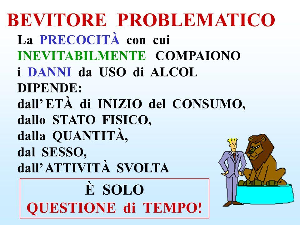 RISCHIO GRAVISSIMO PERICOLO di MORTE ALCOLISTA Ogni ANNO in ITALIA 35.000 MORTI ALCOL - CORRELATE CHI NON CONTROLLA più il PROPRIO CONSUMO di ALCOL ESSENDONE DIPENDENTE L ALCOLISMO NON è una MALATTIA, è uno STILE di VITA
