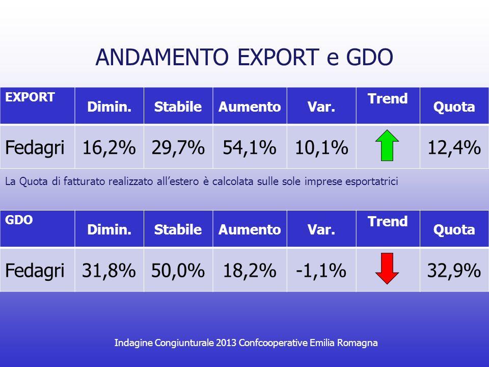 Indagine Congiunturale 2013 Confcooperative Emilia Romagna ANDAMENTO INVESTIMENTI Dimin.StabileAumentoNessun Invest.