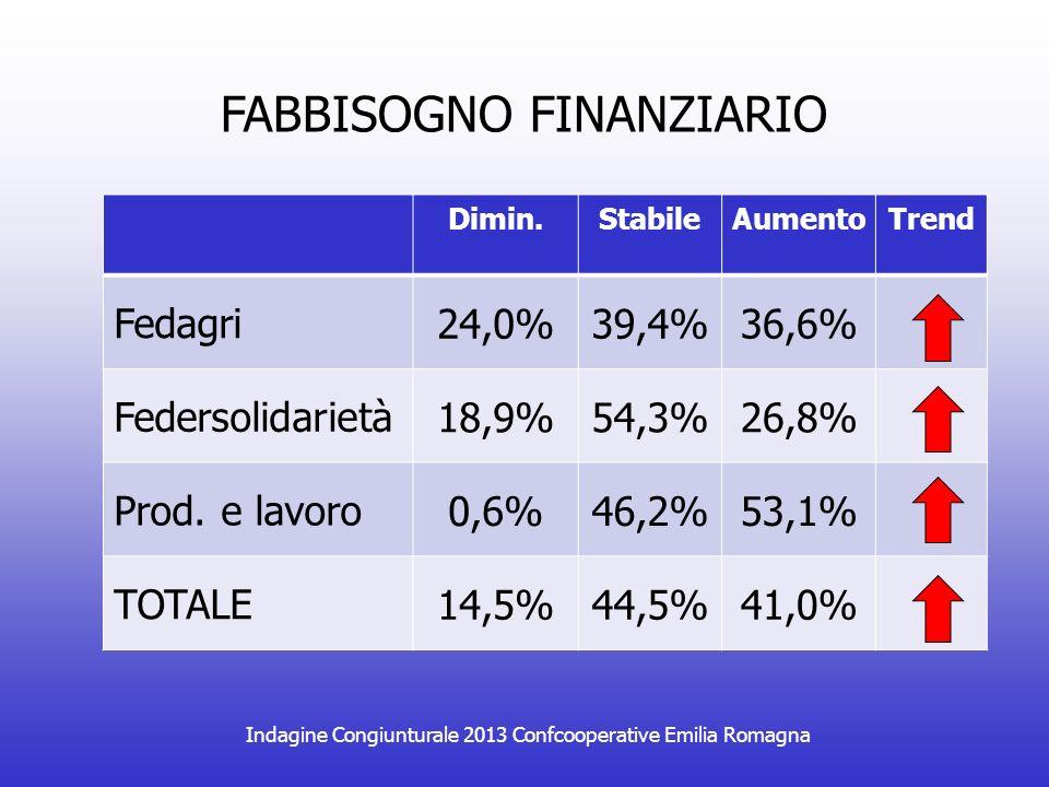 Indagine Congiunturale 2013 Confcooperative Emilia Romagna DIFFICOLTA RAPPORTI BANCHE Dimin.StabileAumentoTrend Fedagri 21,7%71,8%5,8% Federsolidarietà 8,1%85,6%4,9% Prod.