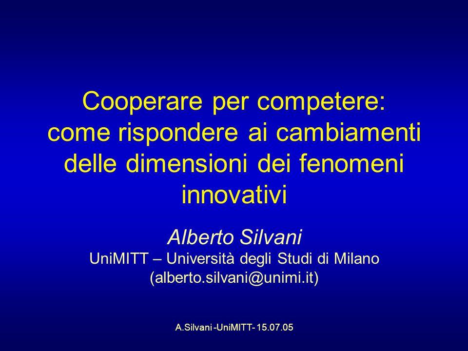 A.Silvani -UniMITT- 15.07.05 Cooperare per competere: come rispondere ai cambiamenti delle dimensioni dei fenomeni innovativi Alberto Silvani UniMITT – Università degli Studi di Milano (alberto.silvani@unimi.it)