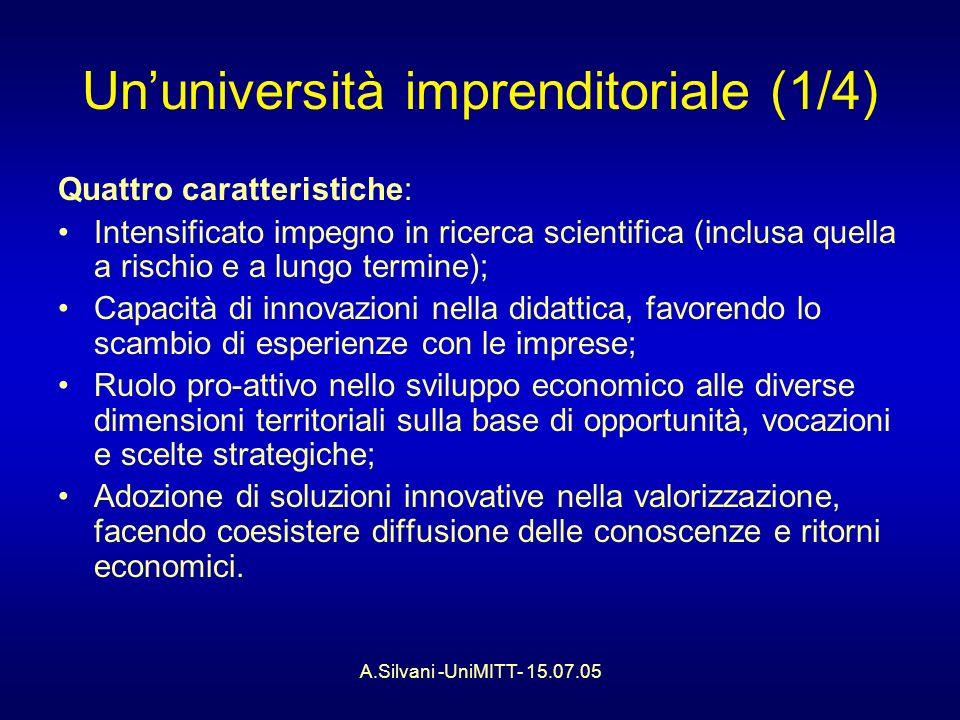A.Silvani -UniMITT- 15.07.05 Ununiversità imprenditoriale (1/4) Quattro caratteristiche: Intensificato impegno in ricerca scientifica (inclusa quella a rischio e a lungo termine); Capacità di innovazioni nella didattica, favorendo lo scambio di esperienze con le imprese; Ruolo pro-attivo nello sviluppo economico alle diverse dimensioni territoriali sulla base di opportunità, vocazioni e scelte strategiche; Adozione di soluzioni innovative nella valorizzazione, facendo coesistere diffusione delle conoscenze e ritorni economici.