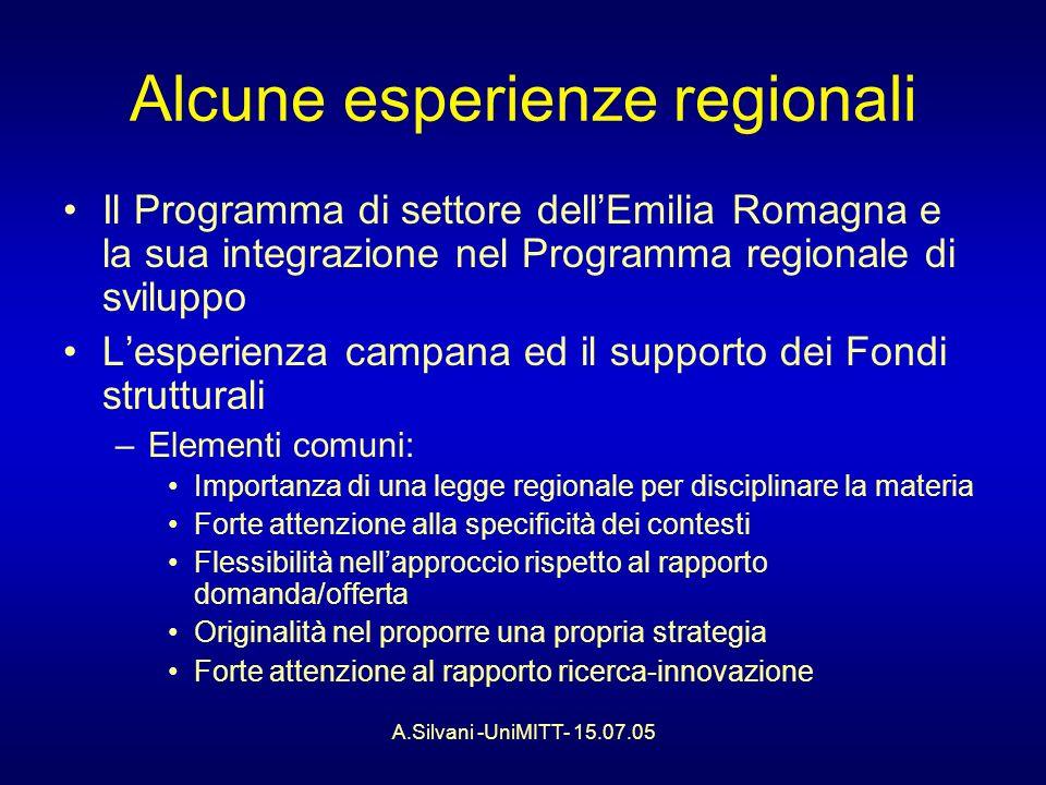 A.Silvani -UniMITT- 15.07.05 Alcune esperienze regionali Il Programma di settore dellEmilia Romagna e la sua integrazione nel Programma regionale di sviluppo Lesperienza campana ed il supporto dei Fondi strutturali –Elementi comuni: Importanza di una legge regionale per disciplinare la materia Forte attenzione alla specificità dei contesti Flessibilità nellapproccio rispetto al rapporto domanda/offerta Originalità nel proporre una propria strategia Forte attenzione al rapporto ricerca-innovazione