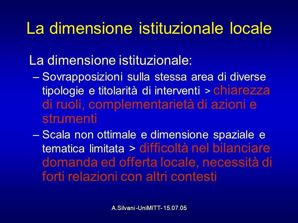 A.Silvani -UniMITT- 15.07.05 Gli strumenti di programma La cooperazione e la competizione in materia di ricerca e linnovazione ai diversi livelli: –Alla scala europea –Nella dimensione nazionale –In alcuni esempi regionali