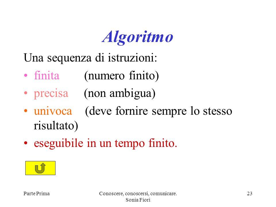 Parte PrimaConoscere, conoscersi, comunicare. Sonia Fiori 23 Algoritmo Una sequenza di istruzioni: finita (numero finito) precisa (non ambigua) univoc