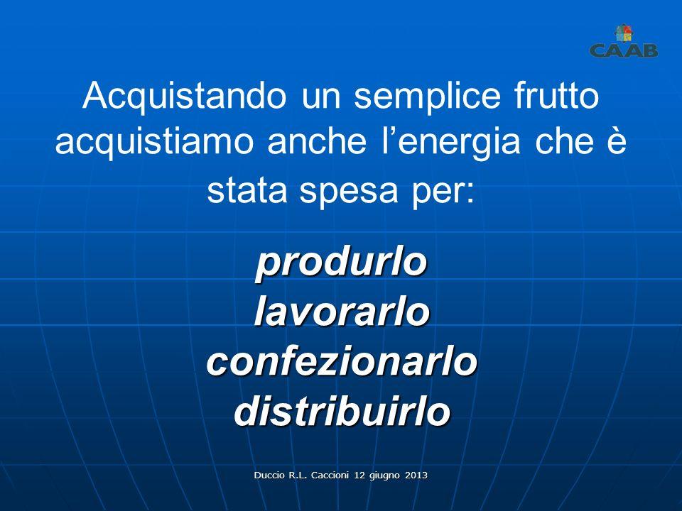 Duccio R.L. Caccioni 12 giugno 2013 Acquistando un semplice frutto acquistiamo anche lenergia che è stata spesa per:produrlolavorarloconfezionarlodist