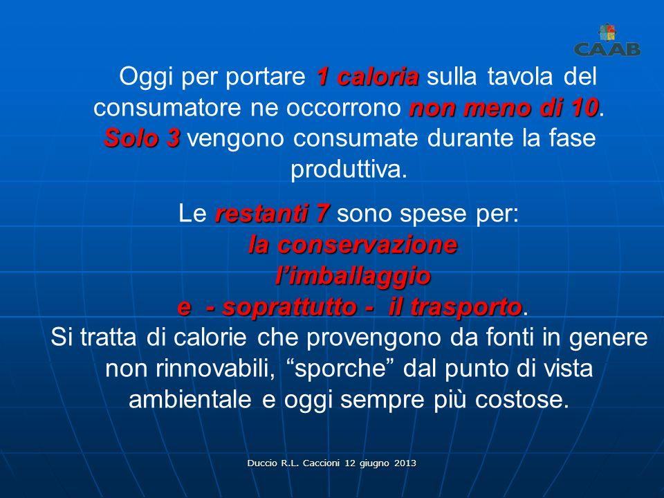 Duccio R.L. Caccioni 12 giugno 2013 1 caloria non meno di 10 Oggi per portare 1 caloria sulla tavola del consumatore ne occorrono non meno di 10. Solo