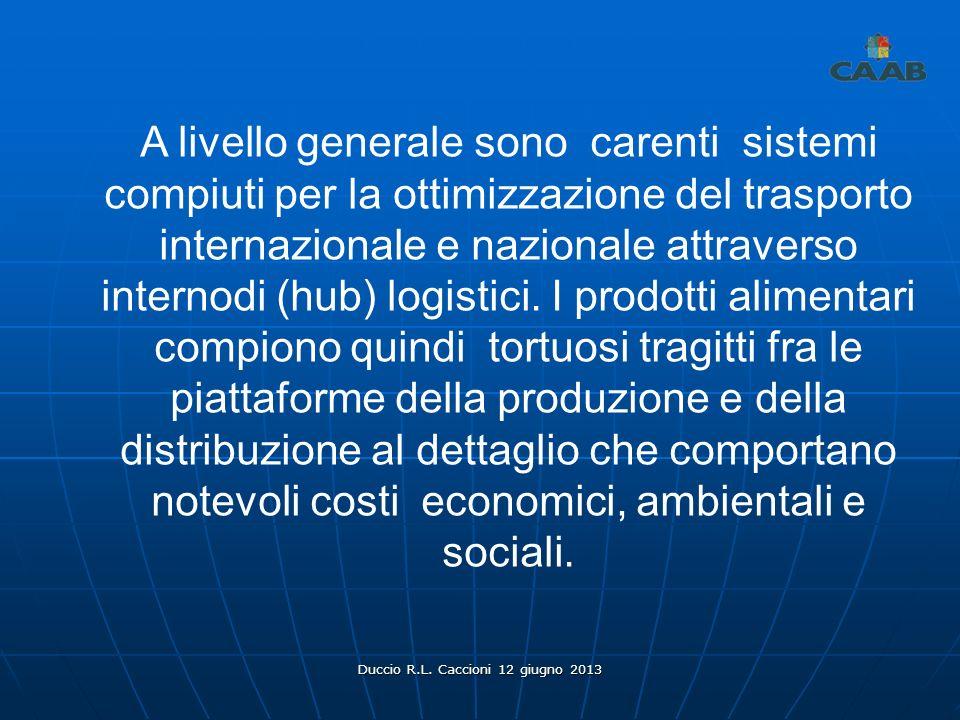 Duccio R.L. Caccioni 12 giugno 2013 A livello generale sono carenti sistemi compiuti per la ottimizzazione del trasporto internazionale e nazionale at
