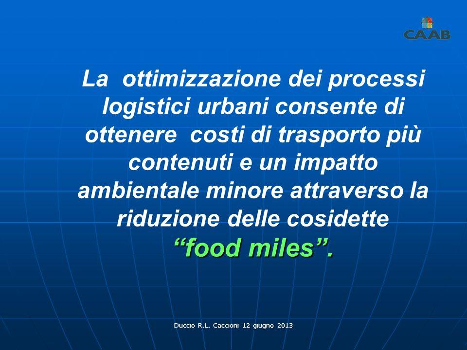 Duccio R.L. Caccioni 12 giugno 2013 La ottimizzazione dei processi logistici urbani consente di ottenere costi di trasporto più contenuti e un impatto