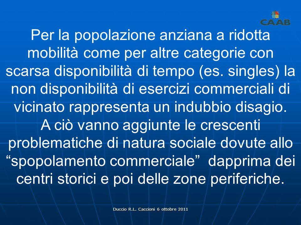 Duccio R.L. Caccioni 6 ottobre 2011 Per la popolazione anziana a ridotta mobilità come per altre categorie con scarsa disponibilità di tempo (es. sing