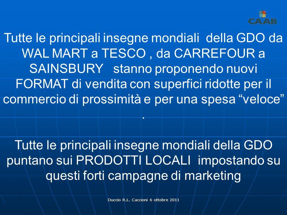 Duccio R.L. Caccioni 6 ottobre 2011 Tutte le principali insegne mondiali della GDO da WAL MART a TESCO, da CARREFOUR a SAINSBURY stanno proponendo nuo