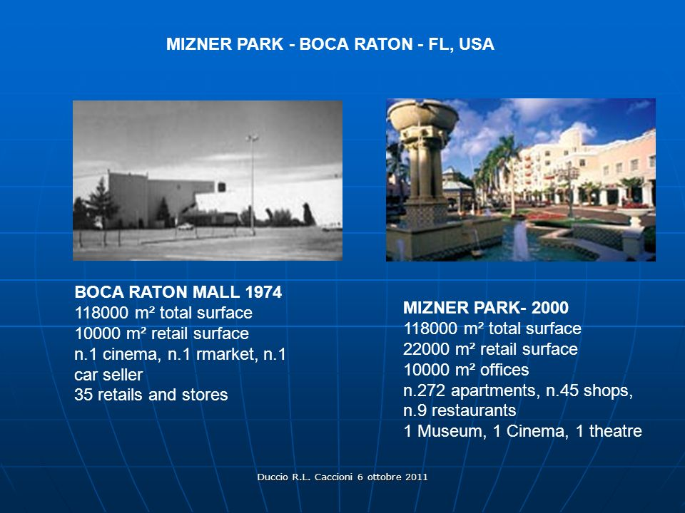 Duccio R.L. Caccioni 6 ottobre 2011 BOCA RATON MALL 1974 118000 m² total surface 10000 m² retail surface n.1 cinema, n.1 rmarket, n.1 car seller 35 re