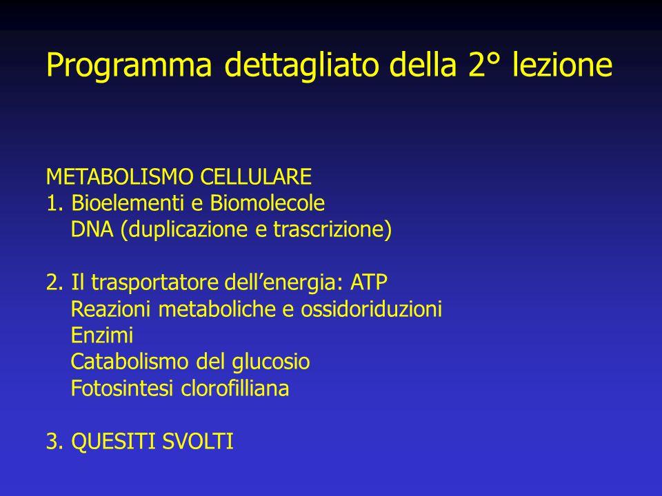 Programma dettagliato della 2° lezione METABOLISMO CELLULARE 1.