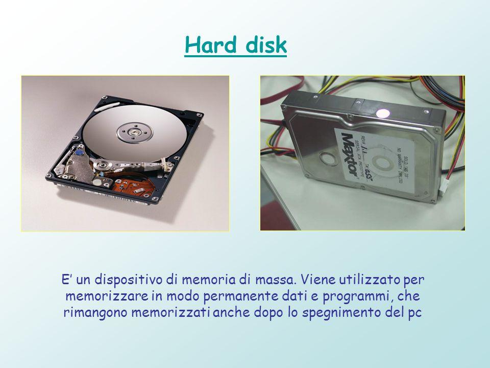 Hard disk E un dispositivo di memoria di massa. Viene utilizzato per memorizzare in modo permanente dati e programmi, che rimangono memorizzati anche