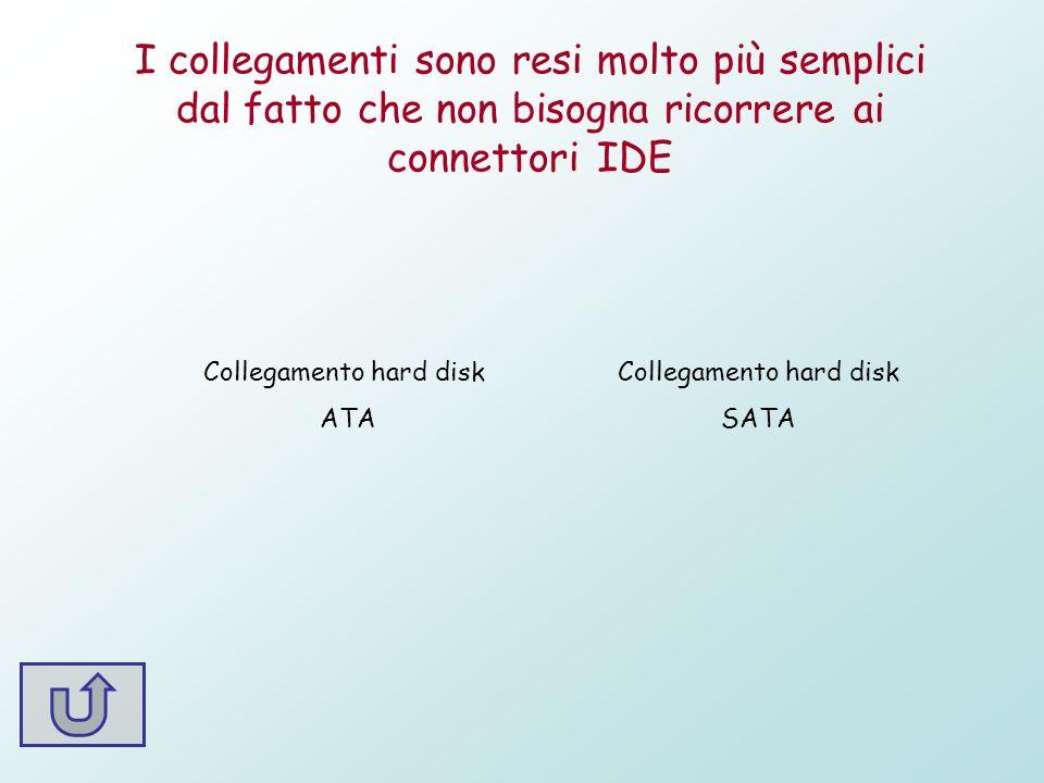 I collegamenti sono resi molto più semplici dal fatto che non bisogna ricorrere ai connettori IDE Collegamento hard disk ATA Collegamento hard disk SA
