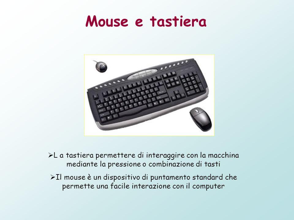 Mouse e tastiera L a tastiera permettere di interaggire con la macchina mediante la pressione o combinazione di tasti Il mouse è un dispositivo di pun