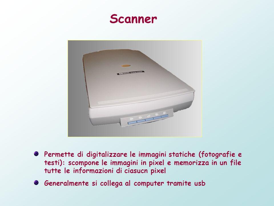 Scanner Permette di digitalizzare le immagini statiche (fotografie e testi): scompone le immagini in pixel e memorizza in un file tutte le informazion