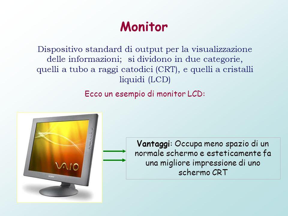 Monitor Dispositivo standard di output per la visualizzazione delle informazioni; si dividono in due categorie, quelli a tubo a raggi catodici (CRT),