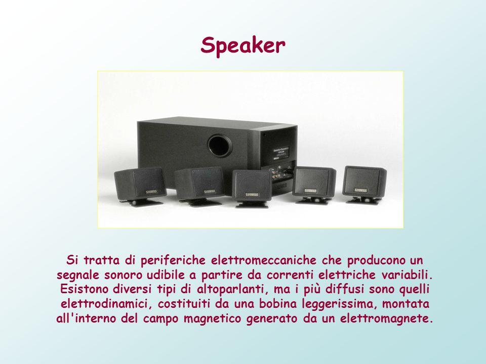 Speaker Si tratta di periferiche elettromeccaniche che producono un segnale sonoro udibile a partire da correnti elettriche variabili. Esistono divers