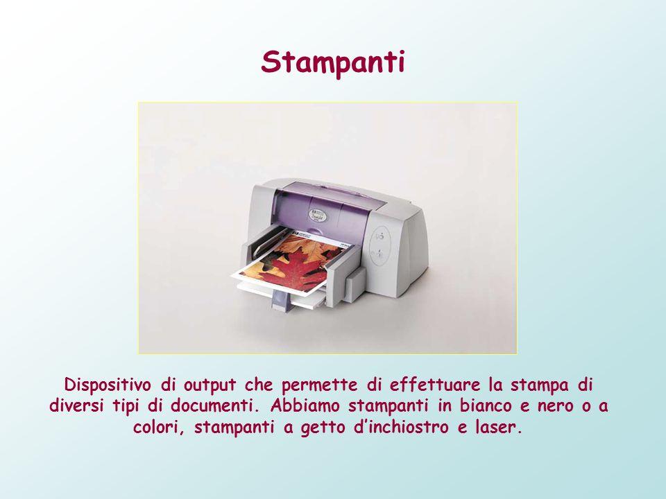 Stampanti Dispositivo di output che permette di effettuare la stampa di diversi tipi di documenti. Abbiamo stampanti in bianco e nero o a colori, stam