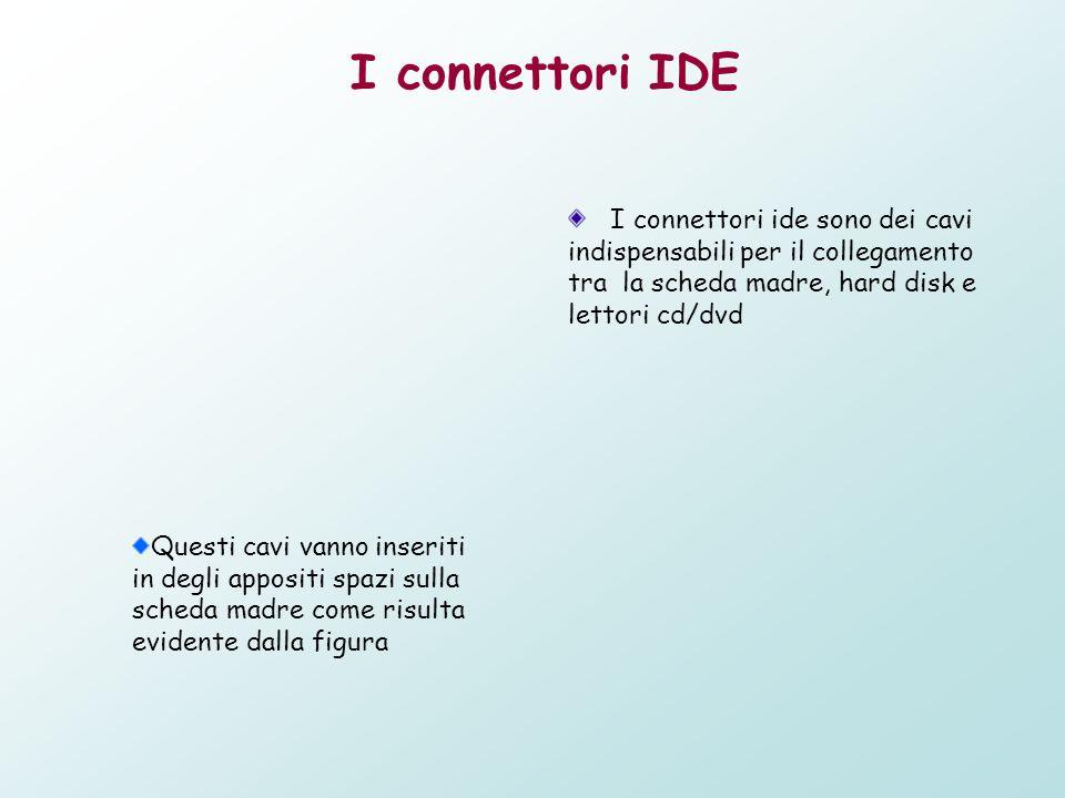 I connettori IDE I connettori ide sono dei cavi indispensabili per il collegamento tra la scheda madre, hard disk e lettori cd/dvd Questi cavi vanno i