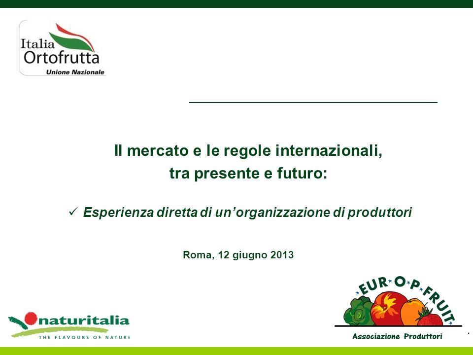 Il mercato e le regole internazionali, tra presente e futuro: Esperienza diretta di unorganizzazione di produttori Roma, 12 giugno 2013