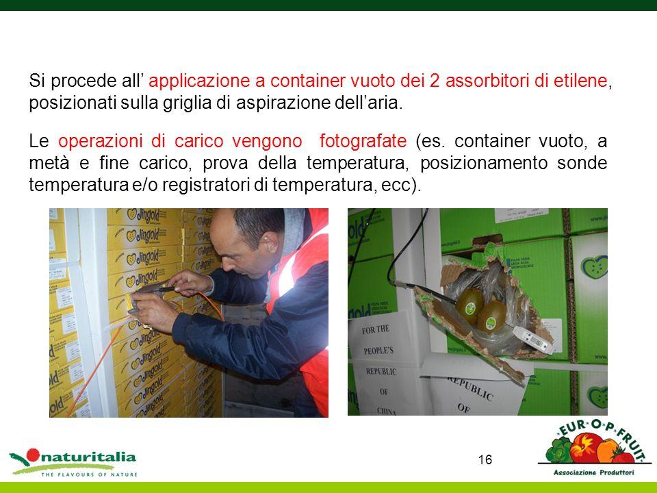 Le operazioni di carico vengono fotografate (es. container vuoto, a metà e fine carico, prova della temperatura, posizionamento sonde temperatura e/o