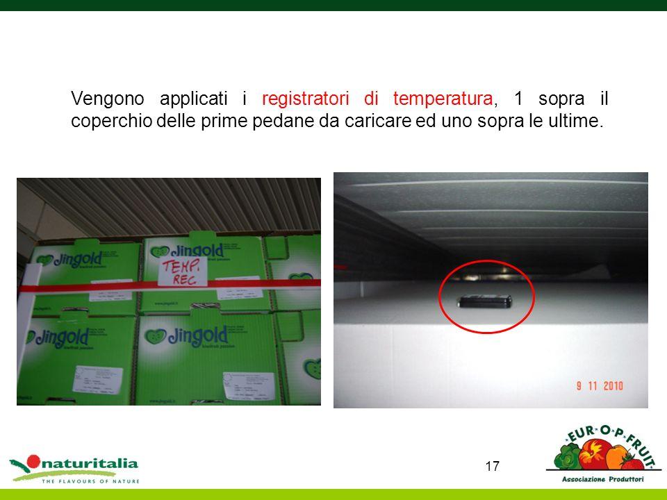 17 Vengono applicati i registratori di temperatura, 1 sopra il coperchio delle prime pedane da caricare ed uno sopra le ultime.