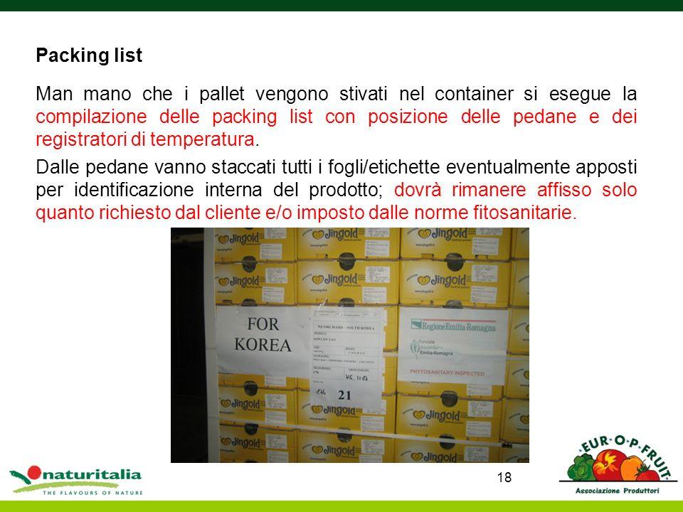 Packing list Man mano che i pallet vengono stivati nel container si esegue la compilazione delle packing list con posizione delle pedane e dei registr