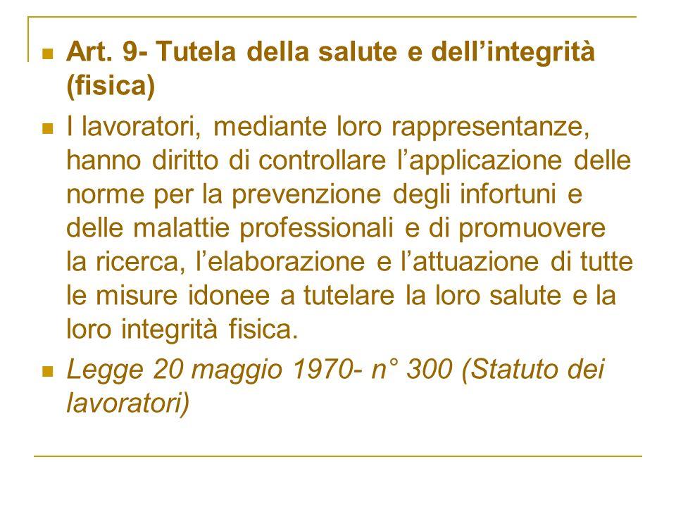 Art. 9- Tutela della salute e dellintegrità (fisica) I lavoratori, mediante loro rappresentanze, hanno diritto di controllare lapplicazione delle norm