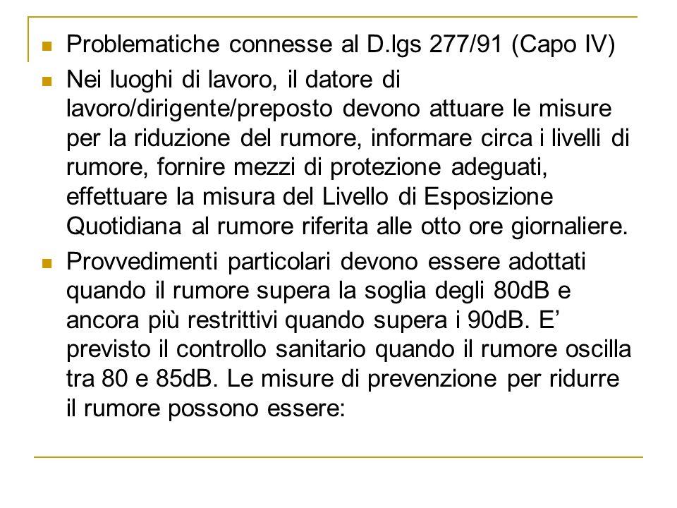 Problematiche connesse al D.lgs 277/91 (Capo IV) Nei luoghi di lavoro, il datore di lavoro/dirigente/preposto devono attuare le misure per la riduzion