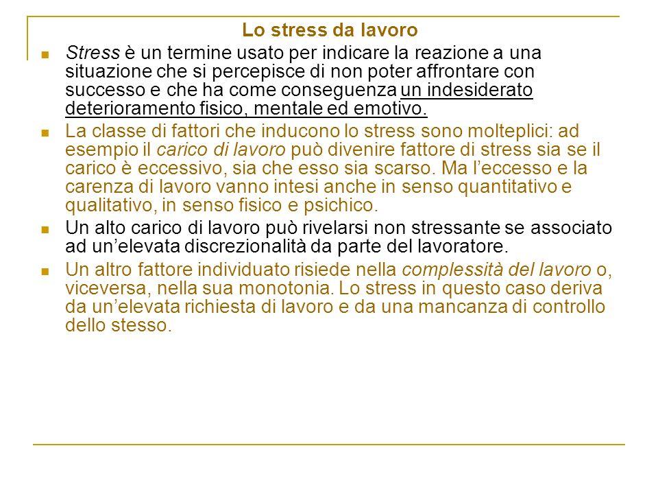 Lo stress da lavoro Stress è un termine usato per indicare la reazione a una situazione che si percepisce di non poter affrontare con successo e che h