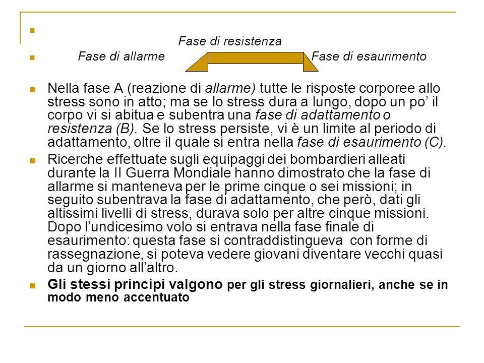 Fase di resistenza Fase di allarme Fase di esaurimento Nella fase A (reazione di allarme) tutte le risposte corporee allo stress sono in atto; ma se l