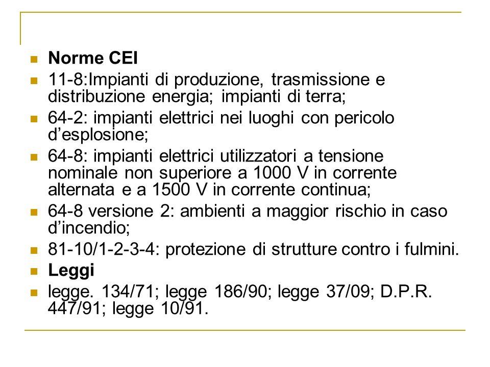 Norme CEI 11-8:Impianti di produzione, trasmissione e distribuzione energia; impianti di terra; 64-2: impianti elettrici nei luoghi con pericolo despl