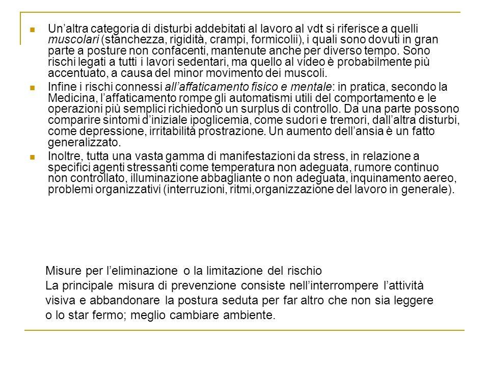 Unaltra categoria di disturbi addebitati al lavoro al vdt si riferisce a quelli muscolari (stanchezza, rigidità, crampi, formicolii), i quali sono dov