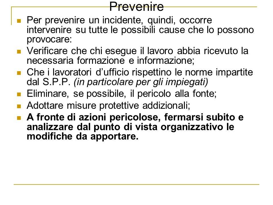 Prevenire Per prevenire un incidente, quindi, occorre intervenire su tutte le possibili cause che lo possono provocare: Verificare che chi esegue il l