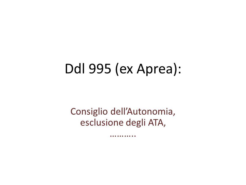 Ddl 995 (ex Aprea): Consiglio dellAutonomia, esclusione degli ATA, ………..