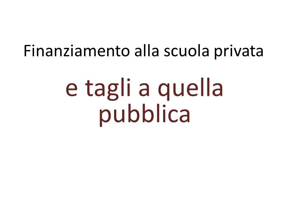 Finanziamento alla scuola privata e tagli a quella pubblica
