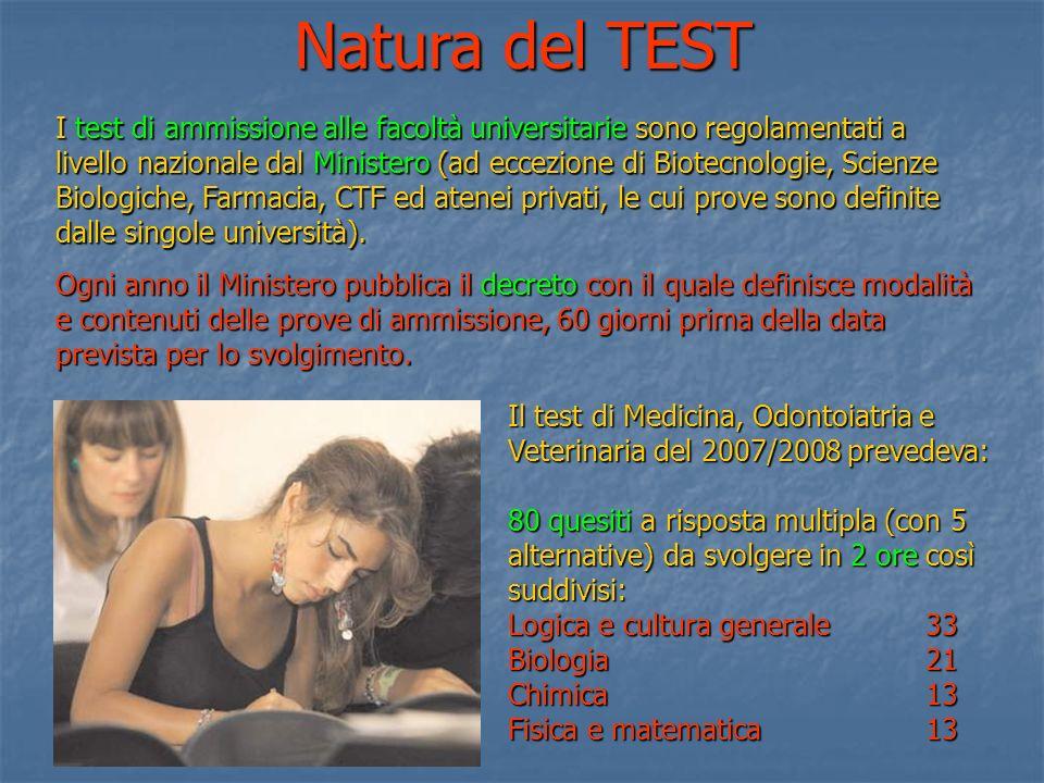 I test di ammissione alle facoltà universitarie sono regolamentati a livello nazionale dal Ministero (ad eccezione di Biotecnologie, Scienze Biologich