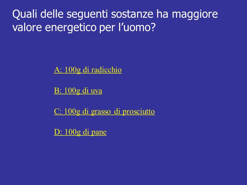 Quali delle seguenti sostanze ha maggiore valore energetico per luomo? A: 100g di radicchio B: 100g di uva C: 100g di grasso di prosciutto D: 100g di